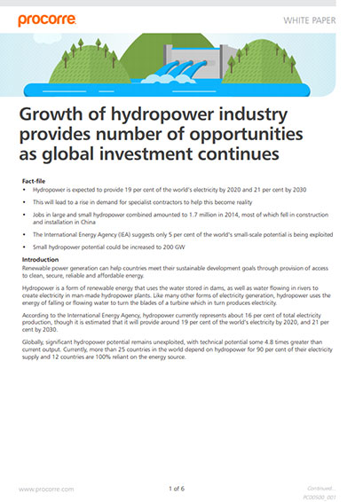 Procorre whitepapers Growth of hydropower P1