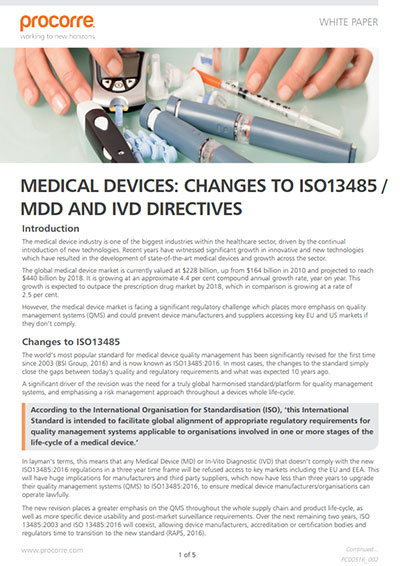 Procorre whitepapers Medical devices changes to P1
