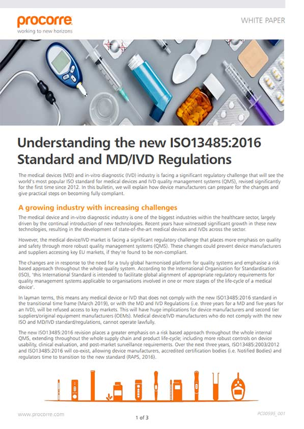 Procorre Whitepapers Practical Steps to prepare for ISO13485:2016